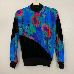 Vintage Bright 1980s Malia Black Velvet Top